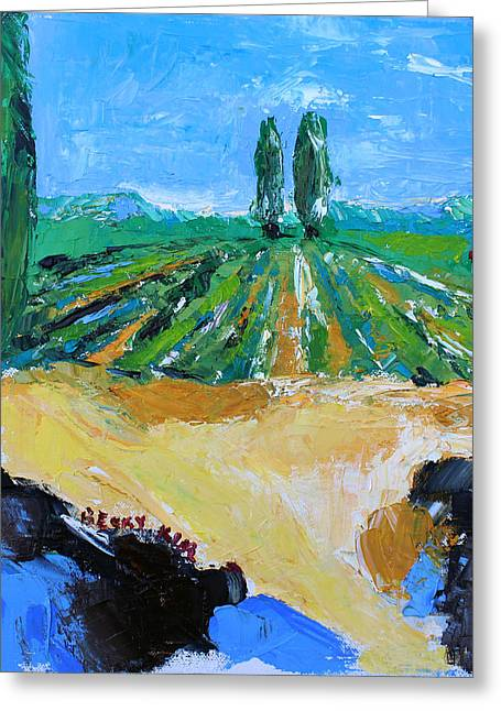 Becky Kim Artist Paintings Greeting Cards - Vineyard 3 Greeting Card by Becky Kim
