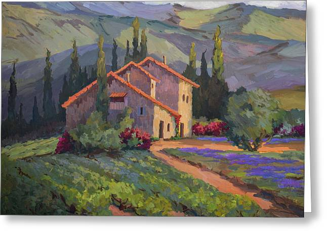 Provence Greeting Cards - Vineyard and Lavender in Provence Greeting Card by Diane McClary