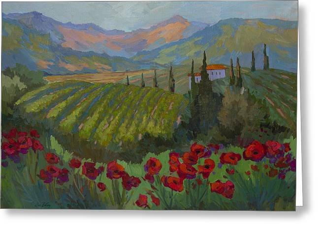 Vineyard And Red Poppies Greeting Card by Diane McClary