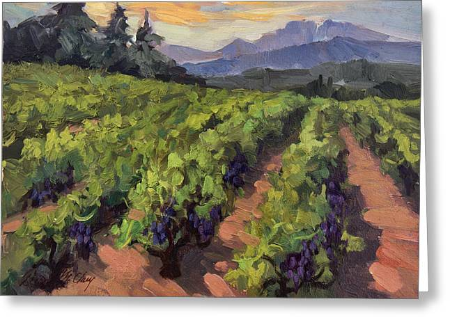 Purple Grapes Paintings Greeting Cards - Vineyard at Dentelles Greeting Card by Diane McClary