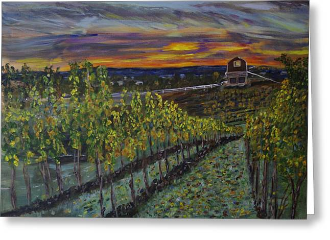 Pastoral Vineyards Paintings Greeting Cards - Vineyard at Sunset Greeting Card by Rex Maurice Oppenheimer