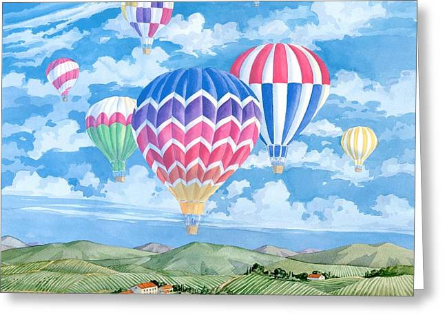 California Wine Country Greeting Cards - Vineyard Balloons Greeting Card by Paul Brent