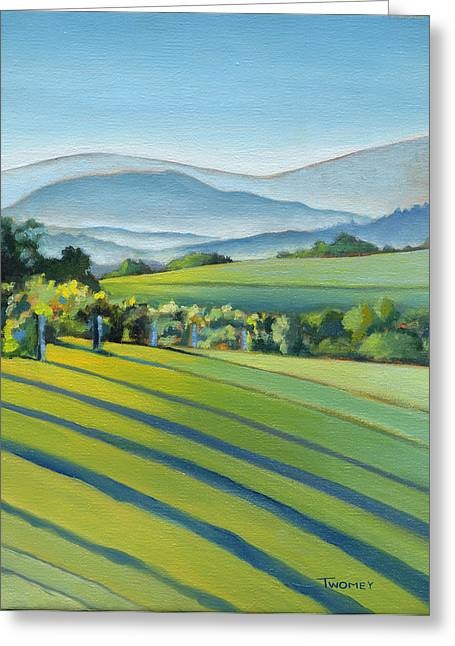Mountain Road Greeting Cards - Vineyard Blue Ridge on Buck Mountain Road Virginia Greeting Card by Catherine Twomey
