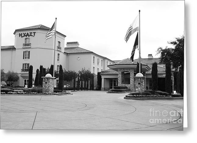 Hyatt Hotel Greeting Cards - Vineyard Creek Hyatt Hotel Santa Rosa California 5D25787 bw Greeting Card by Wingsdomain Art and Photography