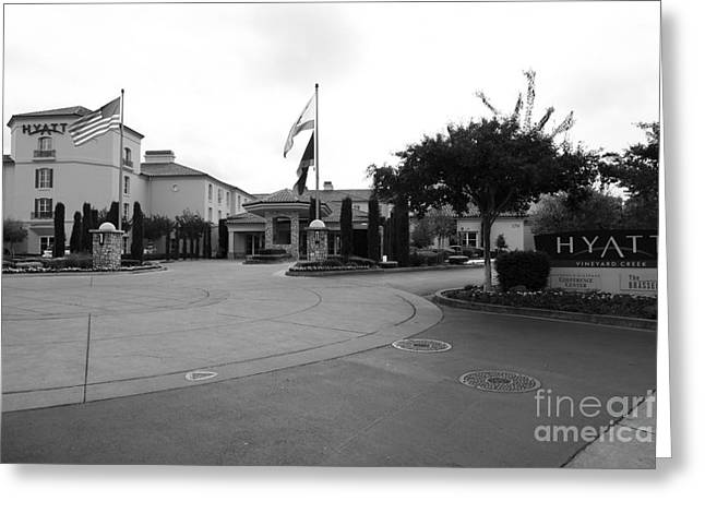 Hyatt Hotel Greeting Cards - Vineyard Creek Hyatt Hotel Santa Rosa California 5D25789 bw Greeting Card by Wingsdomain Art and Photography