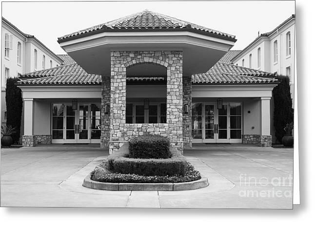 Hyatt Hotel Greeting Cards - Vineyard Creek Hyatt Hotel Santa Rosa California 5D25792 bw Greeting Card by Wingsdomain Art and Photography