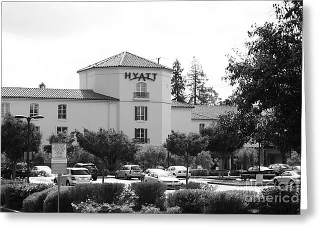 Hyatt Hotel Greeting Cards - Vineyard Creek Hyatt Hotel Santa Rosa California 5D25866 bw Greeting Card by Wingsdomain Art and Photography