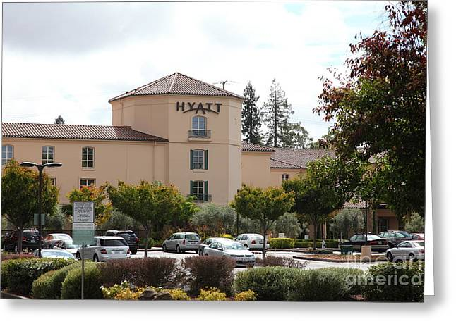Hyatt Hotel Greeting Cards - Vineyard Creek Hyatt Hotel Santa Rosa California 5D25866 Greeting Card by Wingsdomain Art and Photography