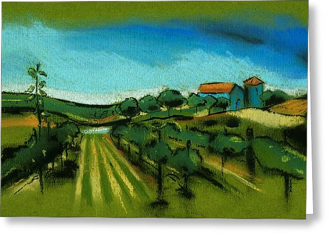Napa Valley Vineyard Pastels Greeting Cards - Vineyard Greeting Card by Danyl Cook