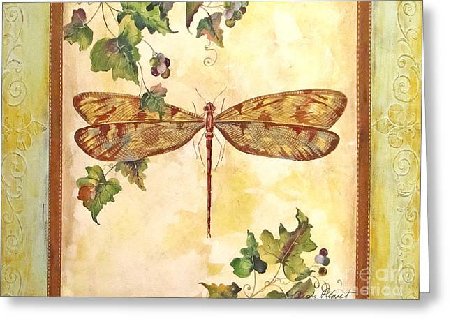 Grape Leaf Greeting Cards - Vineyard Dragonfly Greeting Card by Jean Plout
