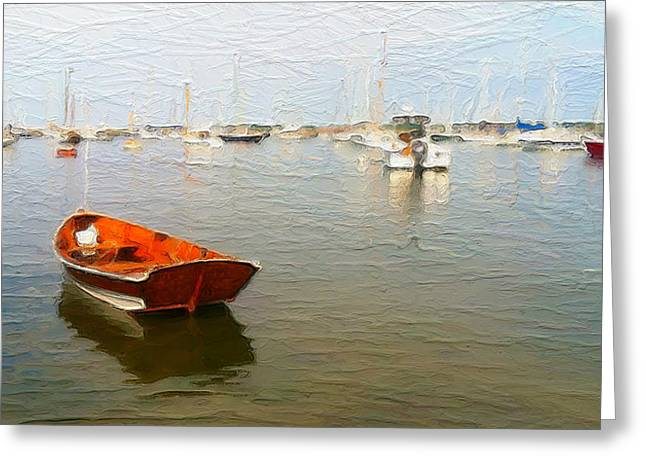 Cape Cod Mass Mixed Media Greeting Cards - Vineyard Haven Harbor Greeting Card by Michael Petrizzo