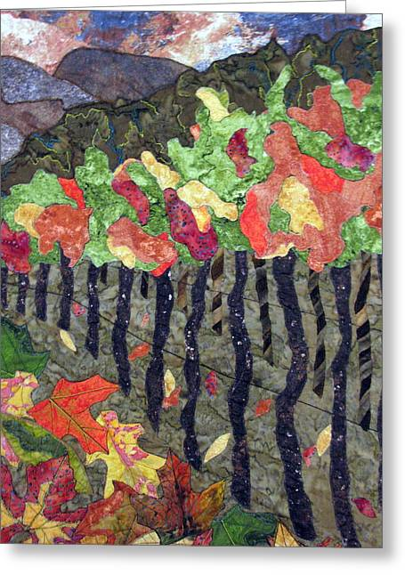 Vineyards Tapestries - Textiles Greeting Cards - Vineyard in Autumn Greeting Card by Lynda K Boardman