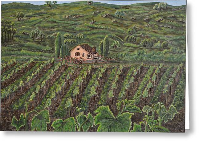 Viticulture Paintings Greeting Cards - Vineyard in Neuchatel Greeting Card by Felicia Tica