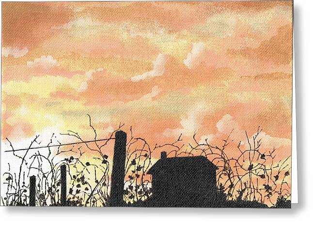 Wheat Field Sunset Print Greeting Cards - Vineyard in Silhouette Greeting Card by David Wolfer