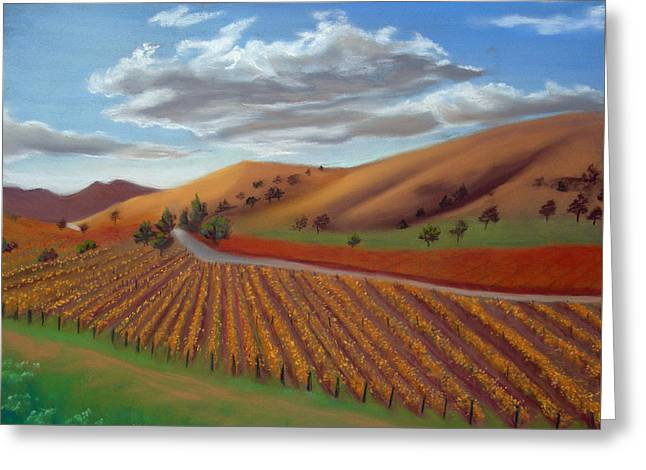 Vineyard Landscape Pastels Greeting Cards - Vineyard in the Fall Greeting Card by Judi Forney