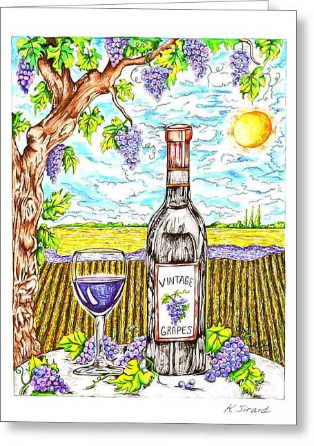 Grape Vine Drawings Greeting Cards - Vineyard Greeting Card by Karen Sirard