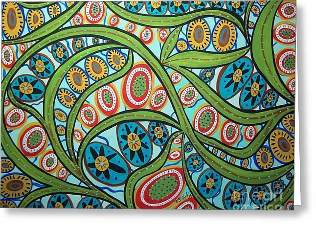 Patterned Paintings Greeting Cards - Vineyard Greeting Card by Karla Gerard