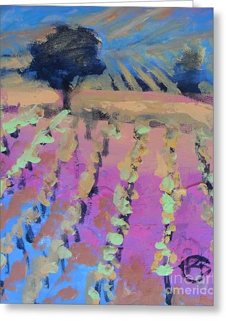 Calistoga Paintings Greeting Cards - Vineyard Greeting Card by Kip Decker