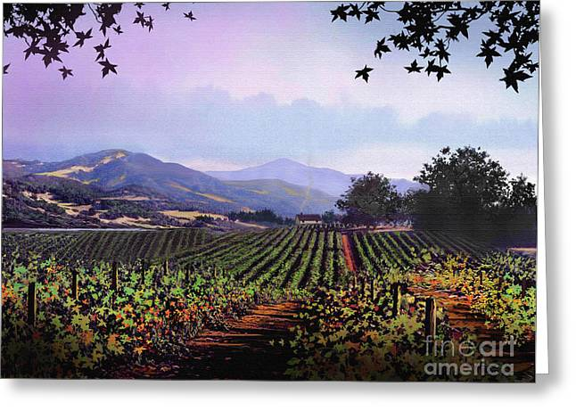 Blue Grapes Greeting Cards - Vineyard Napa Sonoma Greeting Card by Robert Foster