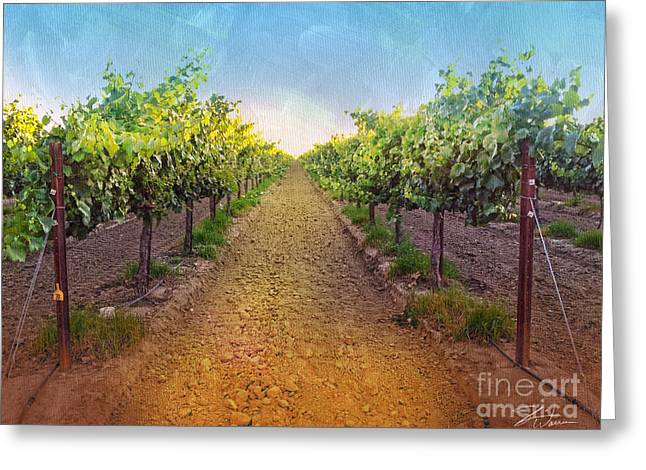 Wine Grapes Mixed Media Greeting Cards - Vineyard Road Greeting Card by Shari Warren