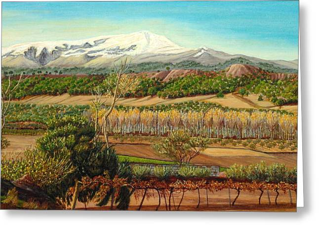 Olive Yellow Grass Greeting Cards - Vineyard Valley in the Sierra Nevada surroundings Greeting Card by Angeles M Pomata