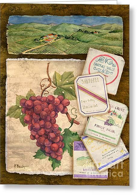 Wine Vineyard Paintings Greeting Cards - Vineyard View I Greeting Card by Paul Brent