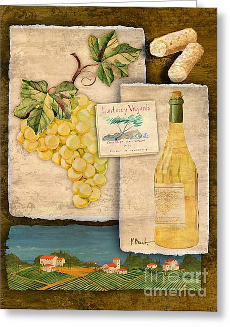 Purple Grapes Greeting Cards - Vineyard View II Greeting Card by Paul Brent