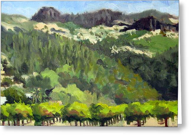 Calistoga Paintings Greeting Cards - Vineyards and Palisades Greeting Card by Char Wood