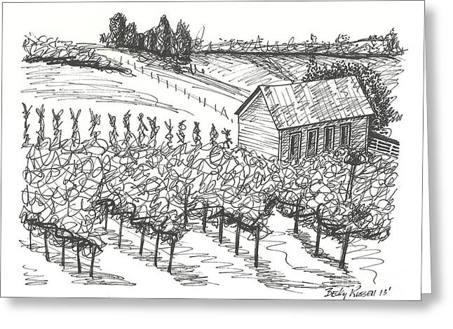 Wine Country. Drawings Greeting Cards - Vineyards Greeting Card by Becky Russell