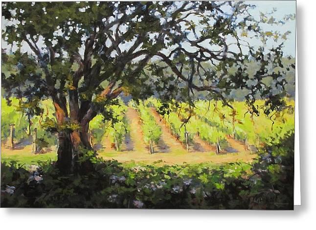 Vineyards Edge Greeting Card by Karen Ilari