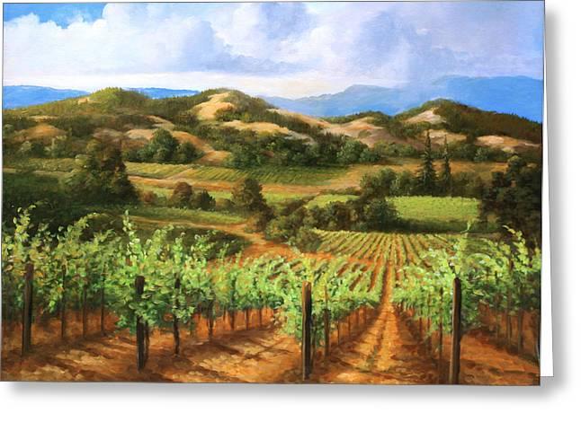 Vineyards In The Valley Greeting Card by Gail Salituri