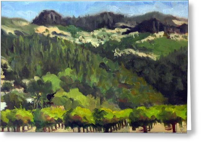 Calistoga Paintings Greeting Cards - Vineyards Under the Palisades Greeting Card by Char Wood
