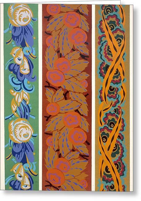 Cell Phone Greeting Cards - Vingt Planches En Couleurs Contenant Soixante-sept Motifs Decoratifs Greeting Card by Auguste H Thomas