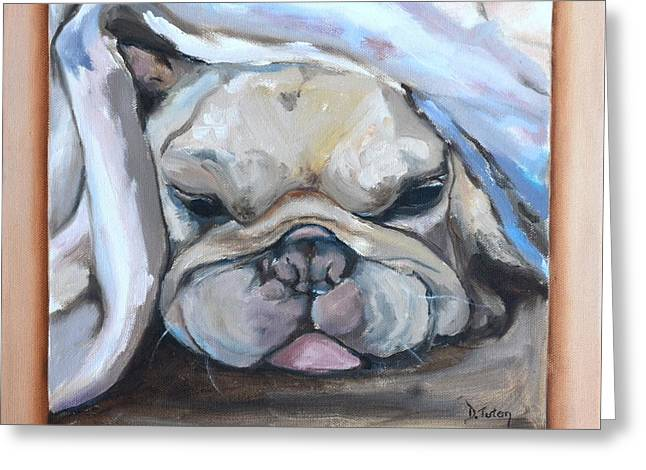 Puppies Paintings Greeting Cards - Vinnie Greeting Card by Donna Tuten