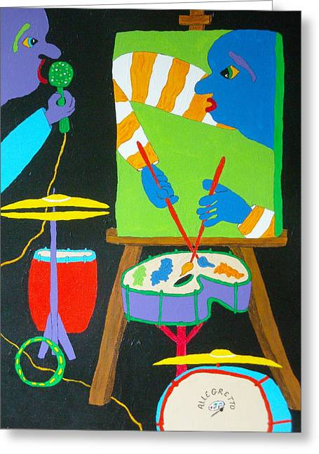 Drum Kit Greeting Cards - Vinny And The Van Goes three Greeting Card by Pamela Allegretto