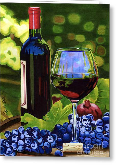 Wine-glass Drawings Greeting Cards - Vino Greeting Card by Cory Still