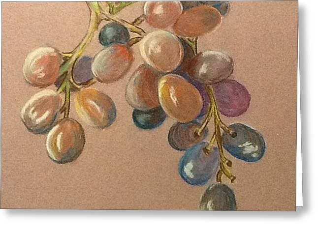 Wine Grapes Pastels Greeting Cards - Vino Greeting Card by Janice Curry