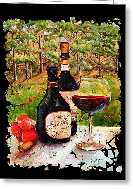 Wine Scene Mixed Media Greeting Cards - Vino Greeting Card by OLena Art