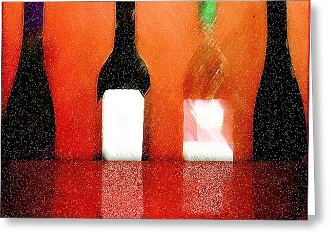 Wine Reflection Mixed Media Greeting Cards - VinoRosa Greeting Card by David Kuhn