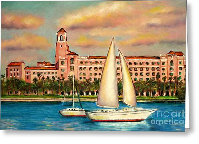 St Petersburg Florida Pastels Greeting Cards - Vinoy Hotel  Greeting Card by Gabriela Valencia