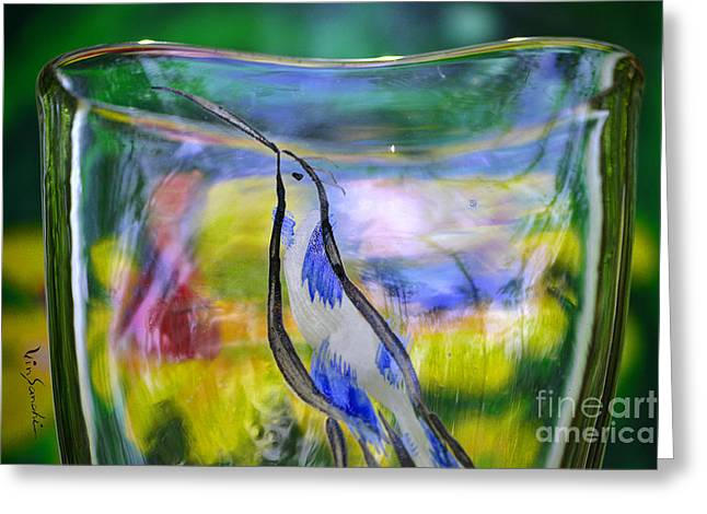 Surreal Landscape Glass Art Greeting Cards - Vinsanchi Glass Art-1 Greeting Card by Vin Kitayama