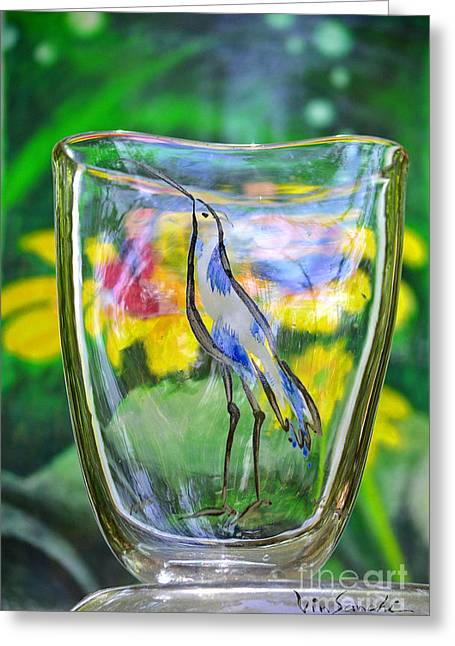 Surreal Landscape Glass Art Greeting Cards - Vinsanchi Glass Art-2 Greeting Card by Vin Kitayama