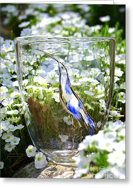 Flower Still Life Glass Art Greeting Cards - Vinsanchi Glass Art-3 Greeting Card by Vin Kitayama