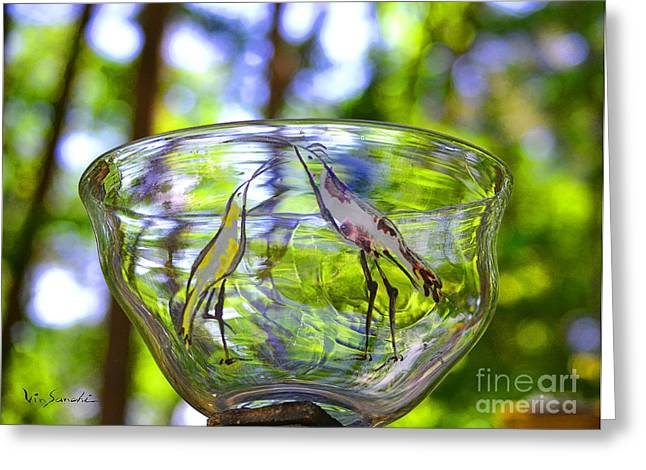Surreal Landscape Glass Art Greeting Cards - Vinsanchi Glass Art-4 Greeting Card by Vin Kitayama