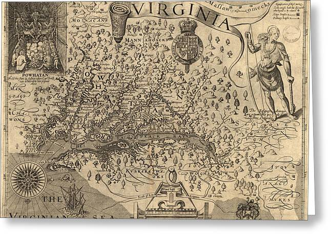 Dominion Greeting Cards - Vintage 1606 Virginia Map Greeting Card by Dan Sproul