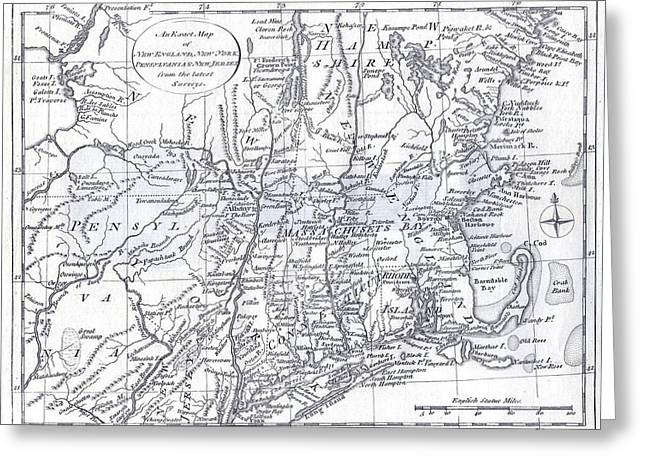 Cartography Mixed Media Greeting Cards - Vintage 1778 New England Map Greeting Card by Dan Sproul