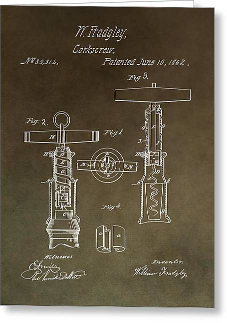 Winery Photography Greeting Cards - Vintage 1862 Corkscrew Patent Greeting Card by Dan Sproul