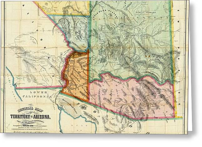 Vintage 1865 Arizona Territory Map Greeting Card by Dan Sproul