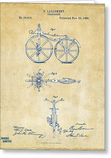 1860 Greeting Cards - Vintage 1866 Velocipede Bicycle Patent Artwork Greeting Card by Nikki Marie Smith