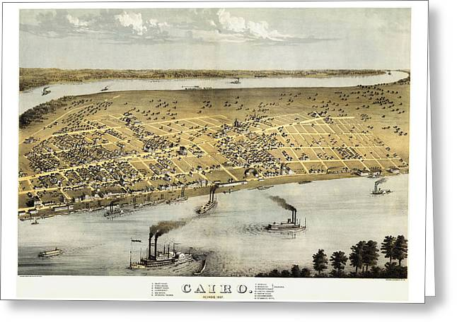 Hand Drawn Greeting Cards - Vintage 1867 Cairo Illinois Map Greeting Card by Stephen Stookey